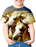 cheap -Kids Boys' Basic Horse Animal Print Short Sleeve Tee Green