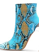 cheap -Women's Boots Summer Stiletto Heel Pointed Toe Daily Solid Colored PU Blue / Orange