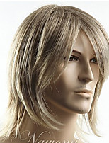 cheap -Synthetic Wig Toupees Straight Side Part Wig Medium Length Brown Blonde Black Orange Synthetic Hair 14 inch Men's Synthetic Blonde hairjoy