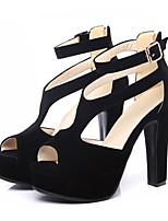 cheap -Women's Sandals Spring / Summer Pumps Peep Toe Casual Sexy Sweet Daily Party & Evening Buckle Solid Colored PU Black / Beige