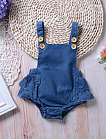 cheap -Baby Girls' Active Basic Blue Solid Colored Backless Sleeveless Romper Blue