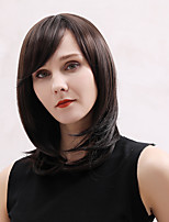 cheap -Remy Human Hair Wig Medium Length Straight Natural Straight Bob Layered Haircut Asymmetrical Side Part Brown Cosplay Women Natural Hairline Capless Women's All Brown 16 inch / African American Wig