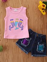 cheap -Toddler Girls' Basic Casual Print Sleeveless Regular Regular Clothing Set Blushing Pink
