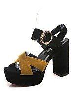 cheap -Women's Sandals Summer Block Heel Peep Toe Daily PU Black / Yellow / Red