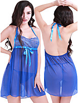 cheap -Women's Lace Backless Suits Nightwear Solid Colored Blue M L XL