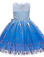 cheap -Princess Elsa Dress Flower Girl Dress Girls' Movie Cosplay A-Line Slip Blue Dress Christmas Halloween Children's Day Polyester