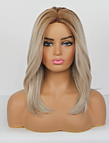 cheap -Synthetic Wig Natural Straight Pixie Cut Side Part Wig Medium Length Rose Gold Synthetic Hair 20 inch Women's Classic Natural New Arrival Blonde
