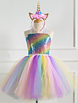 cheap -Unicorn Cosplay Costume Costume Girls' Movie Cosplay Tutus Golden / Silver / Rainbow Dress Headwear Christmas Halloween Carnival Polyester / Cotton Polyester