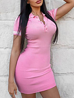 cheap -Women's Sheath Dress Short Mini Dress - Short Sleeves Solid Color Summer Work Sexy 2020 Blue Blushing Pink One-Size