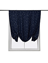 cheap -Solid Color Star Print Tie Up Curtain Thermal Insulated Blackout Window Adjustable Balloon Curtain Shade Rod Pocket 1 Piece