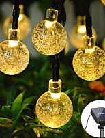 cheap -6.5M 30LED Solar LED Light String Crystal Ball Bubble Lamp Fairy String Lights Outdoor String Lights 8 Function Outdoor Waterproof For Wedding Garden Lawn Christmas Decoration Solar Lamp
