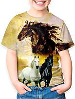 cheap -Kids Boys' Basic Horse Animal Print Short Sleeve Tee Yellow