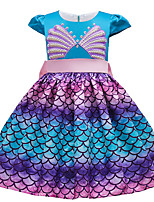 cheap -The Little Mermaid Princess Dress Flower Girl Dress Girls' Movie Cosplay A-Line Slip Blue Dress Halloween Children's Day Masquerade Polyester
