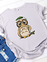 cheap -Women's T-shirt Animal Owl Tops - Print Round Neck 100% Cotton Basic Daily Summer Wine White Black S M L XL 2XL 3XL 4XL 5XL