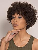 cheap -Remy Human Hair Wig Short Afro Curly Pixie Cut Asymmetrical Brown Fashionable Design Easy to Carry New Arrival Capless Brazilian Hair Burmese Hair Women's Medium Brown#4 14 inch