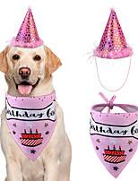 cheap -Dog Cat Bandanas & Hats Dog Bandana Dog Bibs Scarf Cartoon Letter & Number Casual / Sporty Cute Christmas Birthday Dog Clothes Adjustable Blue Pink Costume Cotton M