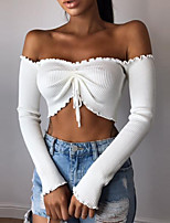 cheap -Women's Cotton Tee / T-shirt Long Sleeve Crop Top Drawstring Sport Athleisure T Shirt Lightweight Breathable Soft Everyday Use Daily Casual