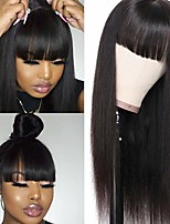 cheap -Remy Human Hair Wig Medium Length Straight Neat Bang Natural Black Party Women Easy dressing Machine Made Capless Brazilian Hair Malaysian Hair Women's Natural Black 16 inch