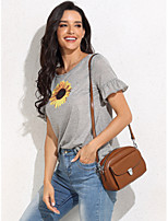 cheap -Women's Blouse Solid Colored Round Neck Tops Summer Gray