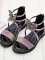 cheap -Girls' Sandals Flower Girl Shoes PU Little Kids(4-7ys) / Big Kids(7years +) Walking Shoes Pink / Gold Summer
