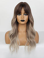 cheap -Synthetic Wig Body Wave Deep Wave Deep Parting Wig Medium Length Chocolate Synthetic Hair 24 inch Women's Adorable Ombre Hair Comfy Dark Brown