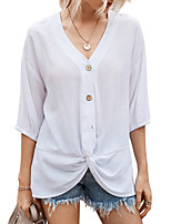 cheap -Women's T-shirt Solid Colored Tops V Neck Daily Summer White Yellow Dusty Blue S M L XL