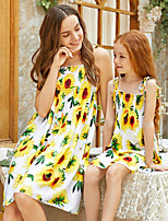 cheap -Mommy and Me Vintage Sweet Floral Color Block Lace up Print Sleeveless Knee-length Dress Yellow