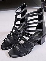 cheap -Women's Sandals Roman Shoes / Gladiator Sandals Summer Flat Heel Open Toe Daily PU Black