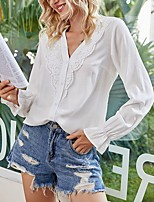 cheap -Women's Blouse Shirt Solid Colored V Neck Tops Summer White