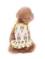 cheap -Dog Dress Pajamas Cartoon Casual / Sporty Cute Party Casual / Daily Dog Clothes Breathable Yellow Costume Cotton XXXS XXS XS S M L