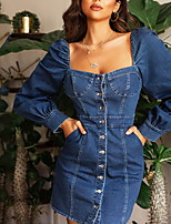 cheap -Women's Denim Dress Short Mini Dress - Short Sleeve Solid Color Summer Square Neck Casual Sexy 2020 Blue S M L