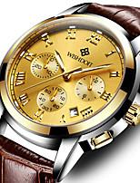 cheap -WISHDOIT Men's Sport Watch Quartz Modern Style Sporty Casual Water Resistant / Waterproof Analog Golden / Brown Black+Grey Black / Stainless Steel / Genuine Leather / Calendar / date / day