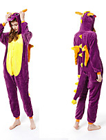 cheap -Adults' Kigurumi Pajamas Dinosaur Onesie Pajamas Flannelette Purple Cosplay For Men and Women Animal Sleepwear Cartoon Festival / Holiday Costumes