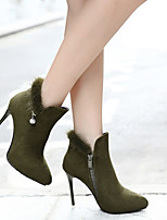 cheap -Women's Boots Stiletto Heel Pointed Toe Classic Daily Solid Colored Nubuck Booties / Ankle Boots Black / Army Green