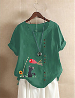 cheap -Women's Blouse Cat Animal Print Boat Neck Tops Cotton Basic Basic Top Blue Green Light gray
