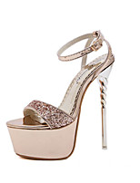 cheap -Women's Sandals Pumps Open Toe Casual Basic Daily Sequin Solid Colored Patent Leather Walking Shoes Black / Champagne