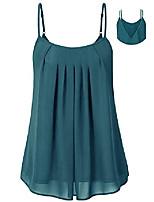 cheap -women& #39;s pleated chiffon layered camisole sexy summer cami tank tops acid blue l