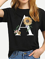 cheap -Women's Tee / T-shirt Cartoon Crew Neck Flower Letter Printed Sport Athleisure T Shirt Short Sleeves Breathable Soft Comfortable Plus Size Everyday Use Exercising General Use