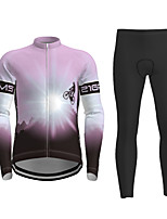 cheap -21Grams Men's Long Sleeve Cycling Jersey with Tights Winter Polyester Black / Yellow Purple Red Novelty Bike Jersey Tights Clothing Suit Breathable Quick Dry Moisture Wicking Back Pocket Sports