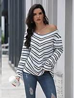cheap -Women's Basic Knitted Striped Pullover Long Sleeve Loose Sweater Cardigans V Neck Fall Winter White Khaki Gray