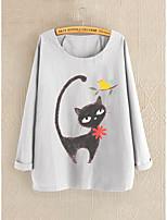 cheap -Women's Blouse Cat Long Sleeve Round Neck Tops Basic Top Blue Gray