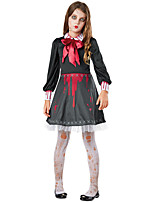 cheap -Ghostly Bride Dress Cosplay Costume Outfits Kid's Girls' Cosplay Halloween Halloween Festival / Holiday Polyester Black Easy Carnival Costumes / Cravat / Cravat