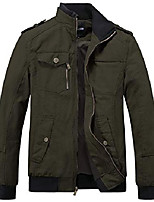 cheap -men's military cotton casual stand collar windbreaker jacket small black2