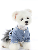 cheap -Dog Dress Denim Party Cute Christmas Party Winter Dog Clothes Warm Black Gray Costume Jeans XS S M L XL