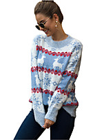 cheap -Women's Christmas Animal Sweater Long Sleeve Sweater Cardigans Crew Neck Round Neck Spring Fall Blue Red Blushing Pink