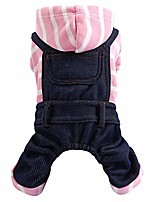 cheap -wakeu dog overall pet clothes for small dog pink white stripes bib pants outfits soft breathable jumpsuit for puppy girl boy cat apparel for walking outdoor spring autumn winter