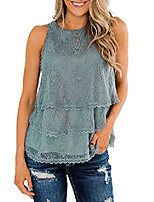 cheap -womens lace tank tops ruffle layers sheer flowy floral crochet blouses