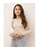 cheap -Women's T-shirt Solid Colored Long Sleeve Drawstring Round Neck Tops Skinny Basic Sexy Basic Top Blue Camel