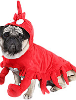 cheap -Dog Cat Halloween Costumes Costume Shirt / T-Shirt Animal Cosplay Special Christmas Party Dog Clothes Breathable Red Costume Fabric S M L XL