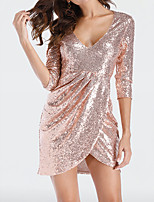 cheap -Women's A-Line Dress Short Mini Dress - Half Sleeve Solid Color Sequins Embroidered Tassel Fringe Summer V Neck Sexy Party Club 2020 Gold S M L XL XXL